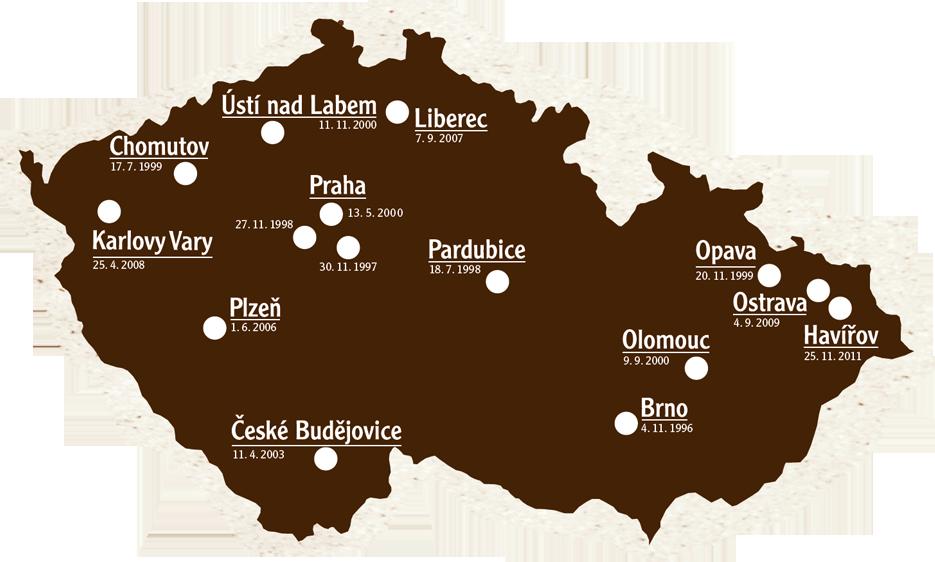 Mapa otevření jednotlivých hypermarketů vČR