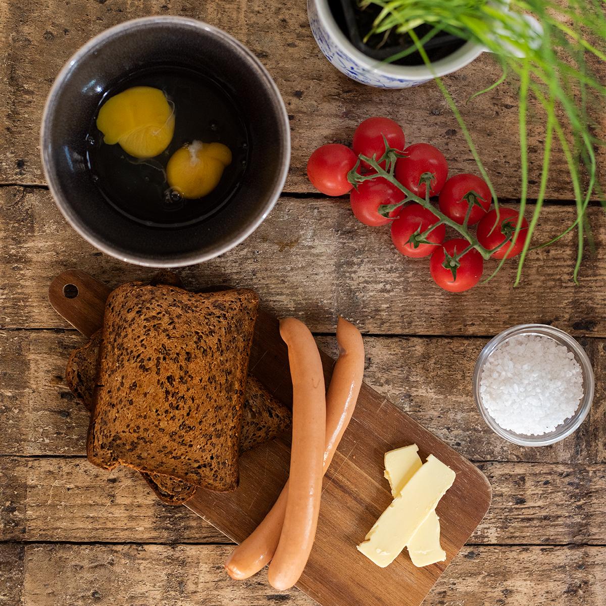 Francouzská snídaně zbio ingrediencí