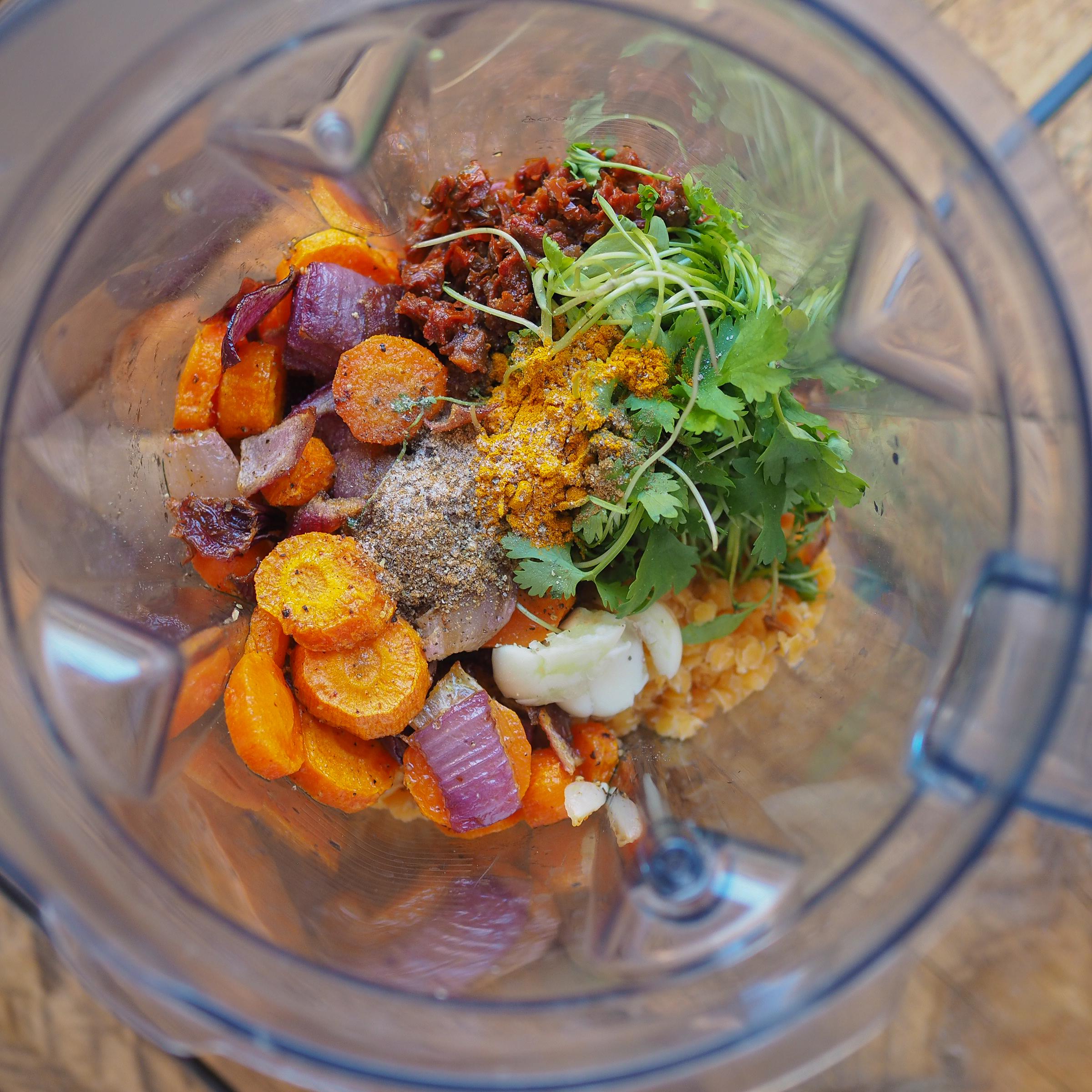 Pomazánka zčervené čočky apečené mrkve